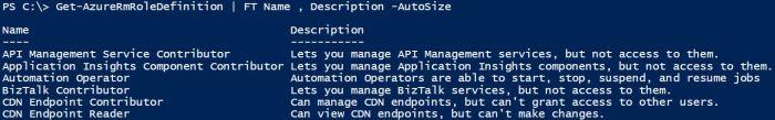 Get-AzureRmRoleDefinition | FT Name , Description -Autosize